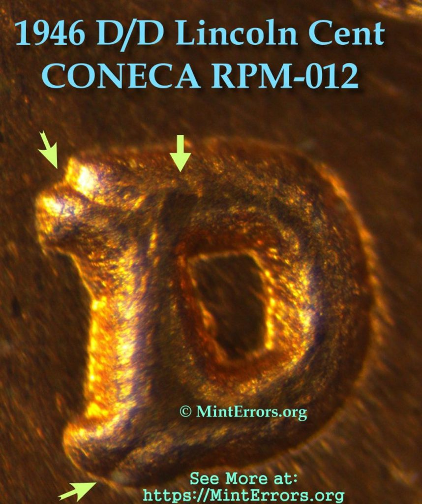 1946-D Lincoln Cent with a re-punched mintmark (RPM).