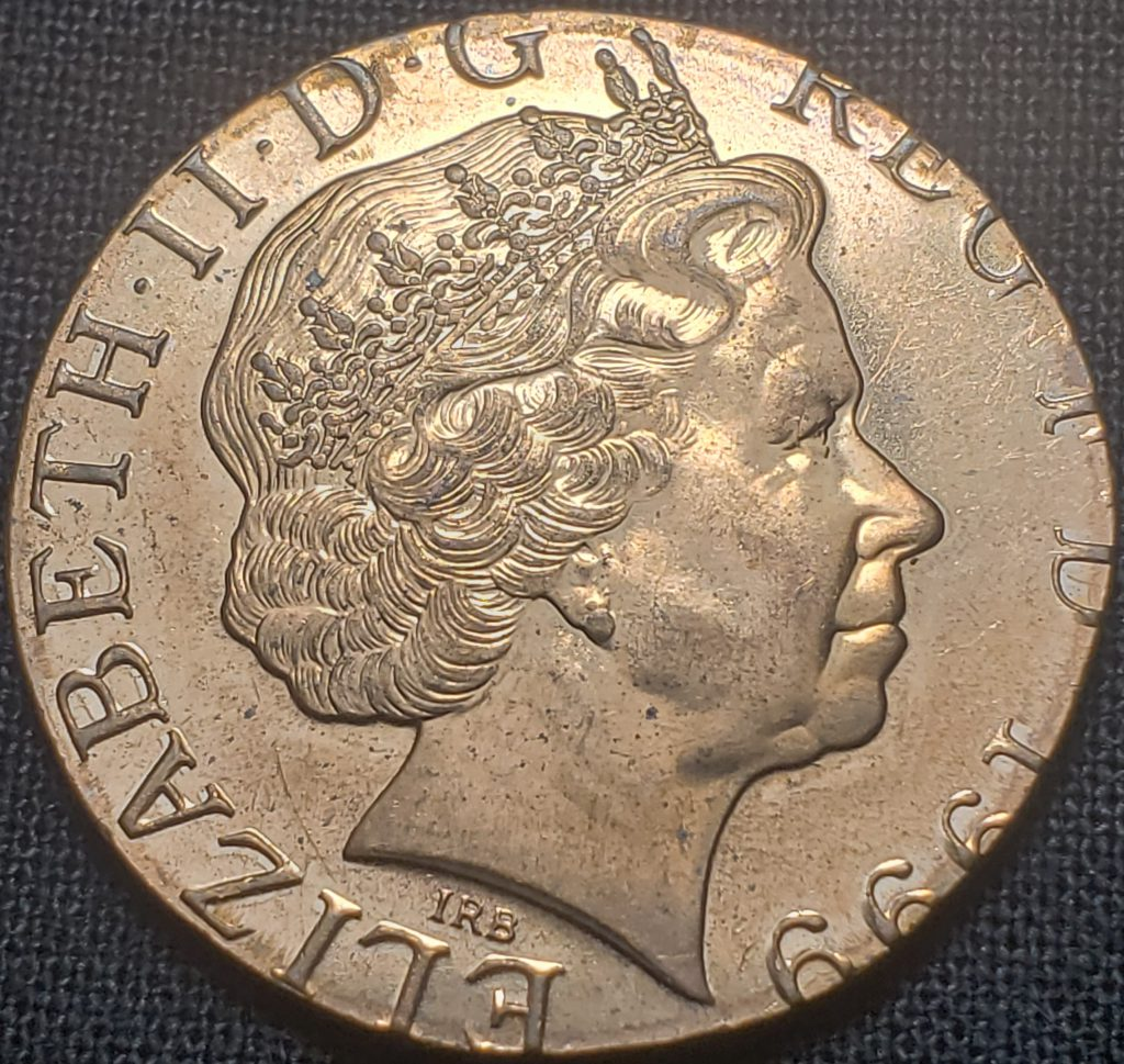 Obverse of a 1999 United Kingdom Two Pence coin struck on a Penny planchet. The planchet weight is 3.59 grams. The planchet is magnetic.