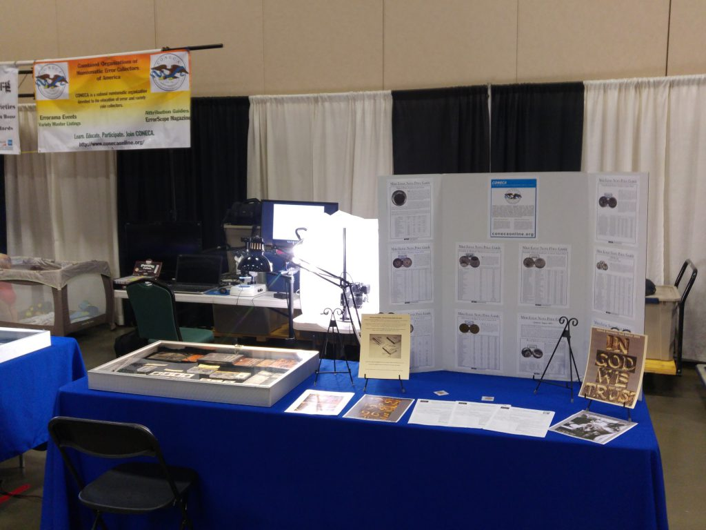 CONECA State Representative setup at the Virginia Numismatic Association VNA annual coin convention held in late September in Fredericksburg, VA