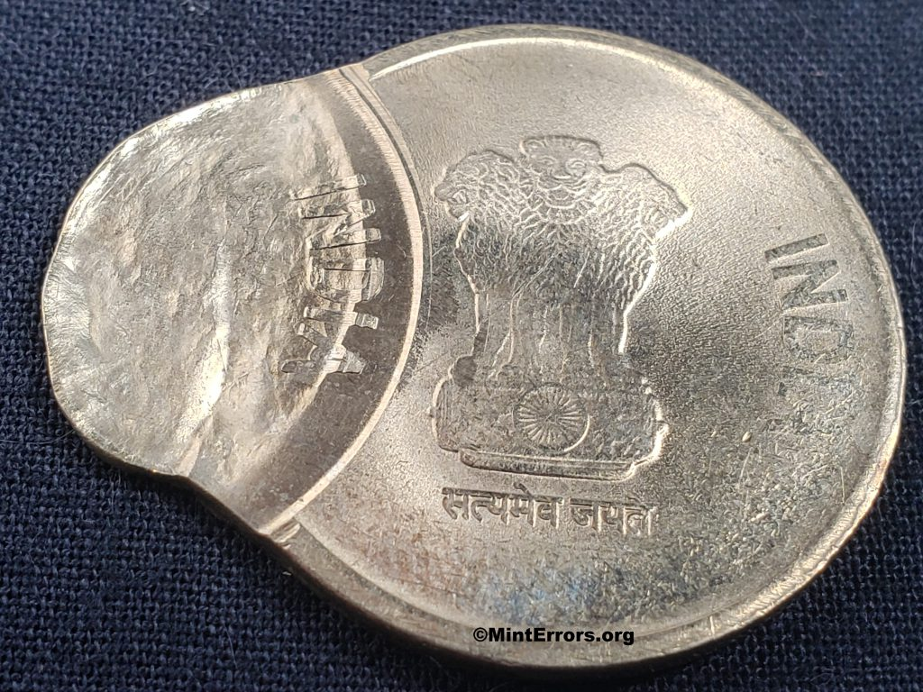 The Obverse of a 2020 Five Rupees multi-struck, major mint error coin from India.