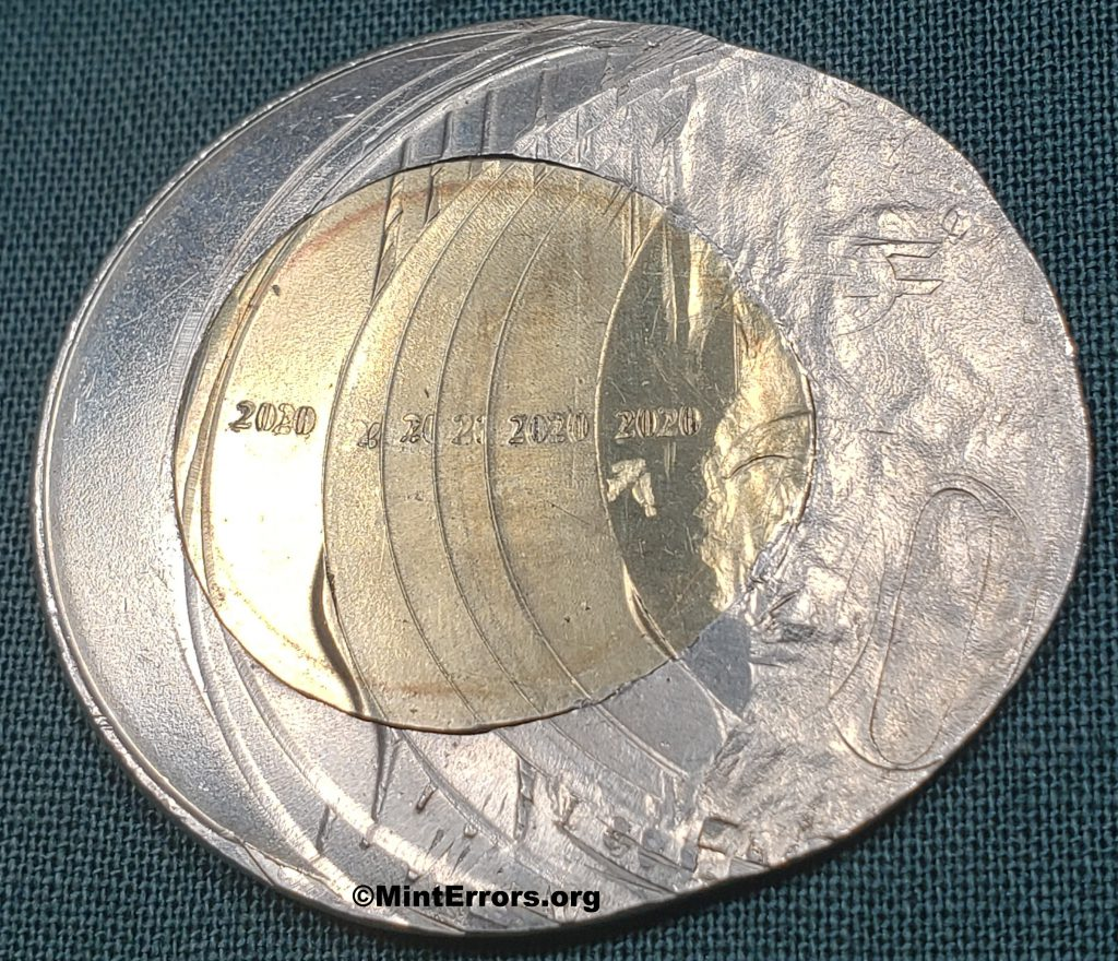 The Reverse of a 2020 Twenty Rupees multi-struck, major mint error coin from India.