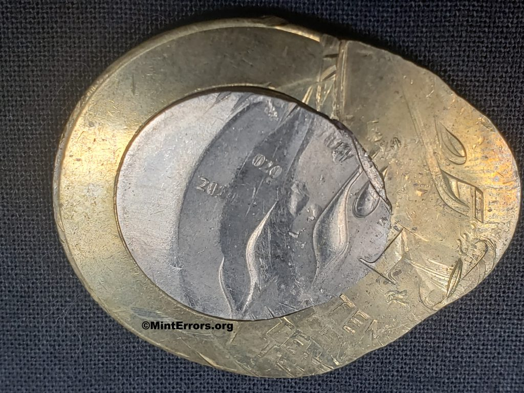 The Reverse of a 2020 Ten Rupees multi-struck, major mint error coin from India. The multi-strikes on this coin go in two directions.