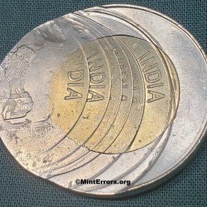 Multiple struck major mint error coin, India 2020 20 Rupees