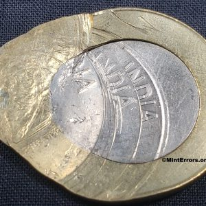 Multiple struck major mint error coin, India 2020 10 Rupees