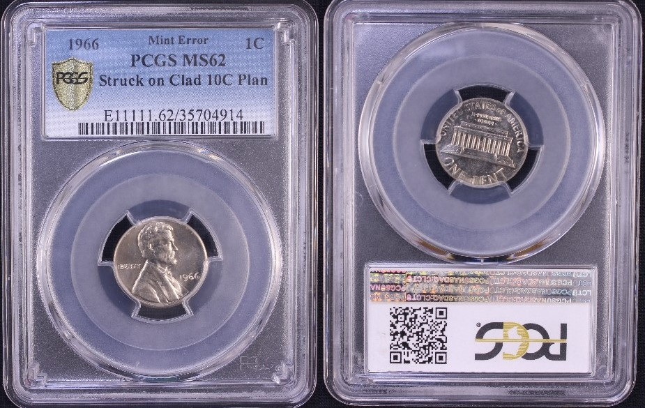 Amazing struck on wrong planchet          1966 Lincoln cent on clad dime planchet