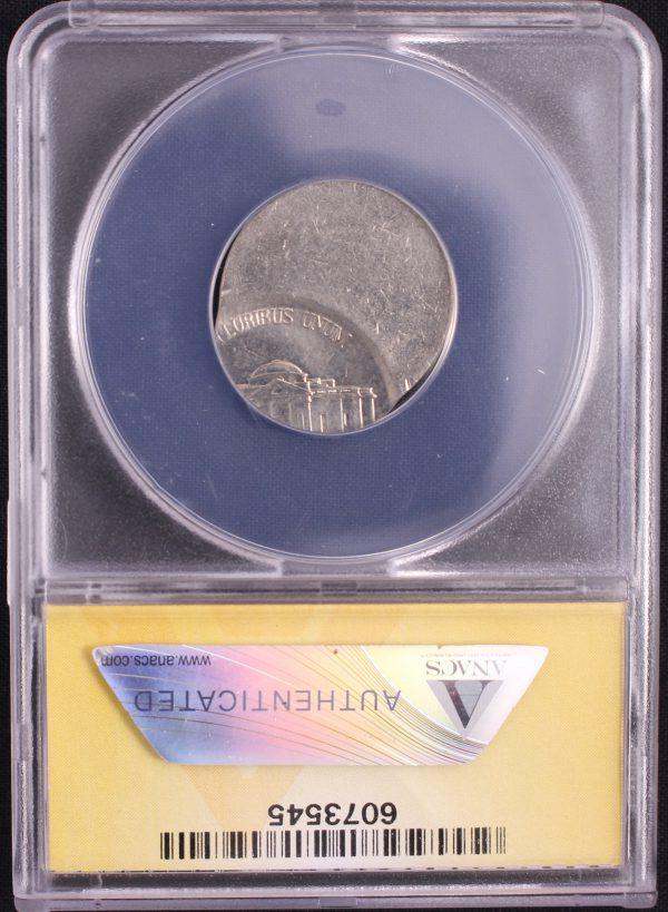 Off Center Coin - The reverse of a1999-D Jefferson Nickel struck 65% off center