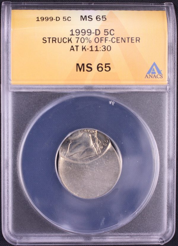 Off Center Coin - The obverse of a 1999-D Jefferson OC 70 ANACS MS65 5348997