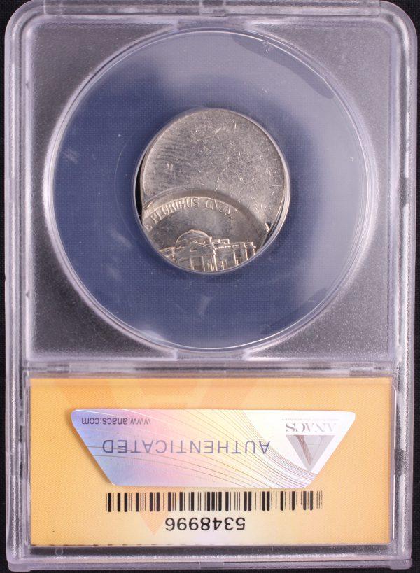 Off Center Coin - The reverse of a1999-D Jefferson Nickel struck 70% off center