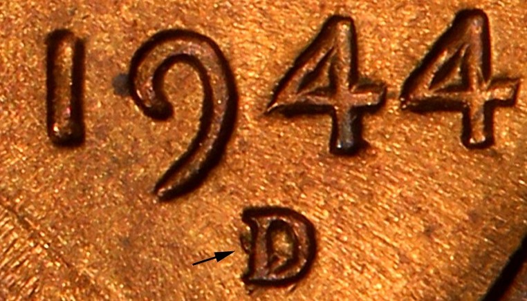 Over mint mark - A 1944 D over S Lincoln Cent. This is the FS-512 variety which has higher population numbers.