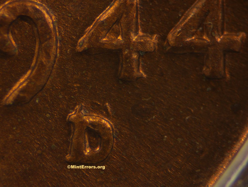 Over mint mark - A 1944 D over S Lincoln Cent. This is the FS-511 variety which has lower population numbers.